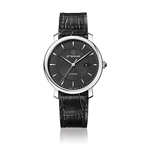 Eterna Women's Quartz Watch with Black Dial Analogue Display and Black Leather Strap 2510.41.41.1251