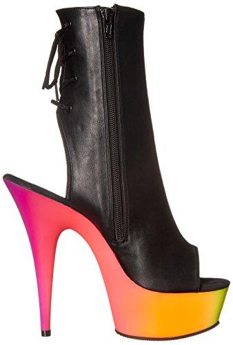 Pleaser, Sandali donna Blk Faux Leather/Neon Multi