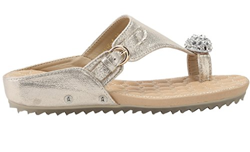 AgeeMi Shoes Damen Flip Flops Diamant Keilabsatz Slip on Sommer Beach Sandalen Gold PU (EuL09)