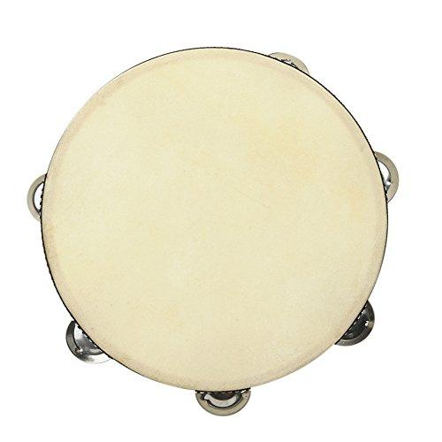 Único de Jingle pandereta de madera redonda de mano pandereta tambor instrumento de percusión para KTV, partido, para juegos, Educación Musical