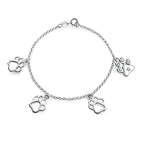 Bling Jewelry Sterling Silver CZ Dangling patte d'impression Animal Charm Bracelet 7EN