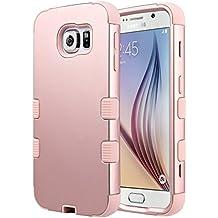 Carcasa S6, ULAK Galaxy S6 Funda Case resistente hñbrida resistente de goma a prueba de golpes del Carcasa para Samsung Galaxy S6 (Rosa oro)