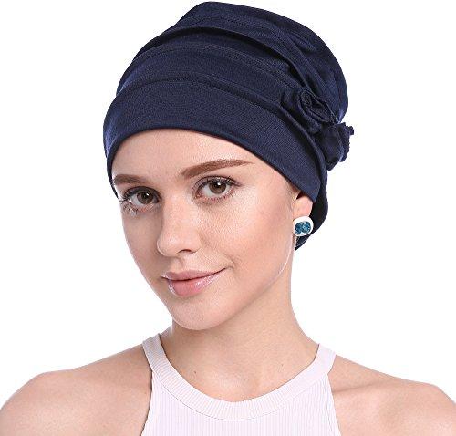 Ababalaya Frauen Stretch Blume Turban Hat Kopftuchs Chemo Krebs Cap-Kopf-Abdeckung in 7 Farben (Dunkelblau)