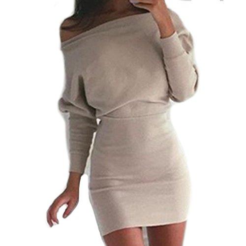 Vestito da partito del maglione del maglione di stirata aderente della spalla del cotone dalle maniche lunghe di SUNNOW cachi