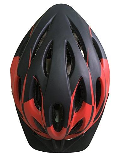 Fahrradhelm, Erwachsener Fahrrad-Sturzhelm-Fahrrad-Sturzhelm-Reithelm Road, Mountainbike Helm, Blau, Rot Farbe, L (58-62cm), mit LED lampen (Rot und Schwarz) Y-15