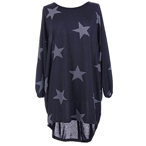 Damen Lange Shirt Tops Langarm Frauen Plus Größe Fledermausärmel Sterne Drucken Baggy Tunika Tops Bluse