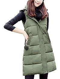 Chaleco Acolchado Mujer Elegante Largos Otoño Invierno Pluma Camisolas Basic Encapuchado Sin Mangas Espesor Termica Informales