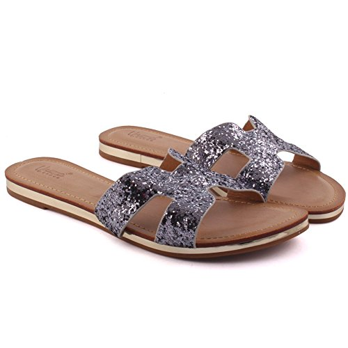 Unze Nuove donne 'Keith' Open Toe brillarono Slider sandali estate Beach Party Get Together Carnevale scolastico pattini piani casuali dei pistoni UK Size 3-8 Grigio