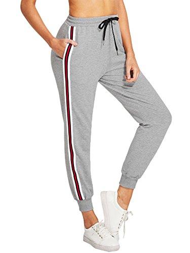 DIDK Damen Hosen Sporthose Casual Streifen Sweathose Elastischer Bund Jogginghose mit Taschen Grau XS