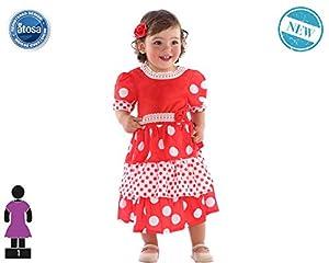 Atosa-61285 Atosa-61285-Disfraz Flamenca-Bebé Niña, Color rojo, 24 Meses (61285