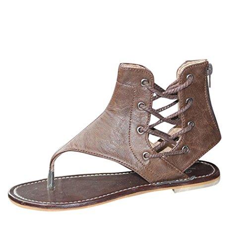 Ankle Strap Schnalle Sandale (Zehentrenner in 3 Farben für Damen, FEITONG Frauen Römer Flachen Sandalen Riemchensandalen Ankle Straps Schuhe Badeschuhe Sommer Schuhe (EU:40/Etikettengröße 41, Braun))