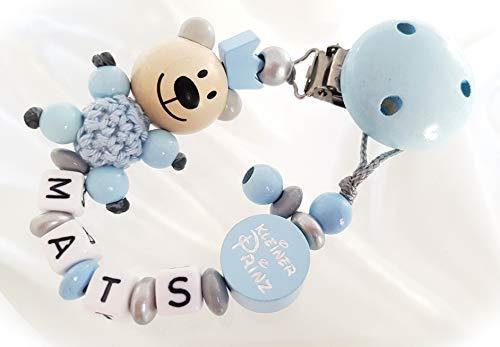 Baby Schnullerkette mit Namen - Teddy, Junge, Wunschnamen, Taufe (Hellblau, Teddy Krone)