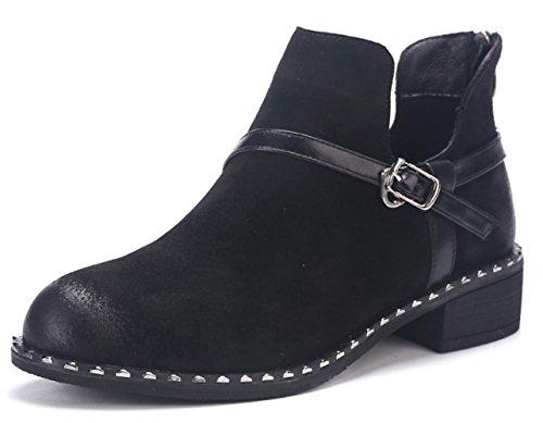 KUKI Herbst und Winter Frauen Retro Stiefel Martin Stiefel nackten Stiefel Low-Cost-Stiefel leichte atmungsaktive Casual Stiefel , black , US7.5 / EU38 / UK5.5 / CN38