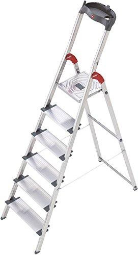 Hailo ProfiLine S150 XXL Alu-Stufenstehleiter (6 XXL-Stufen, Plattform-Verriegelung, belastbar bis 150 kg, Ablageschale) 8816-027 -