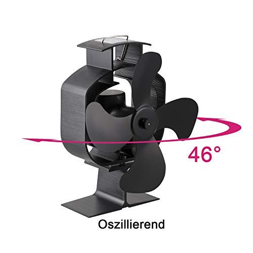 Hengda Stromloser Ventilator Kaminventilator Ofenventilator für Kamin Feuerstelle Holzöfen Öfen Hitzebetrieben (Oszillierender Typ)