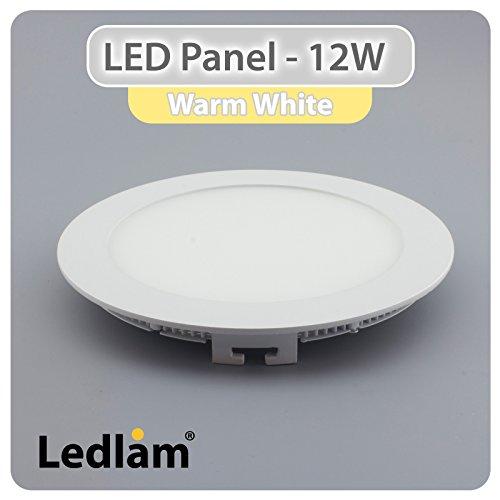 LED Einbaustrahler Panel Strahler Einbauspot weiß 17 cm rund 12 Watt warmweiß 3000 Kelvin, 220 Volt, Schutzklasse IP20, Abstrahlwinkel 120 Grad