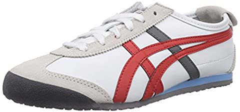 Onistuka Tiger Mexico 66, Chaussures de trail mixte adulte - Blanc 0126-White/Fiery Red - 41.5 EU