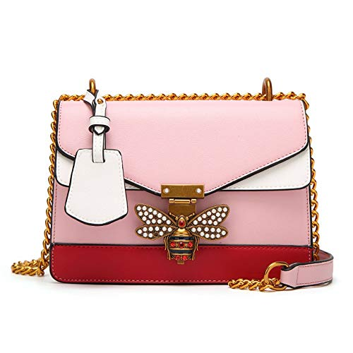 Messenger-Bags Kleine Bienen Perlennieten Breite Schultergurte Kettenriemen Quer Über Damentaschen. Pink