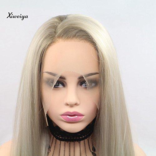 Xiweiya Peluca de encaje sintético rubio de encaje frontal, larga, sedosa, recta, con raíces marrones, pelo largo, peluca para mujer, resistente al calor, pelo de fibra