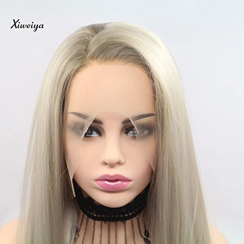 Xiweiya Peluca encaje sintético rubio encaje frontal