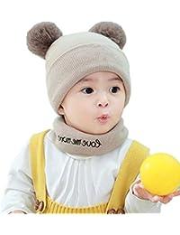 8e24bff0399ba Kit De 1 Determinado del Bebé Sombrero Hecho Punto Bufanda del Calentador  del Cuello De Los Muchachos De Los Niños del Ganchillo De…