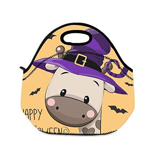 Lunchbox-Tasche, Halloween-Motiv Cartoon-Giraffe, für Mädchen, faltbar, Lunchtasche