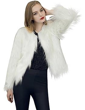 KaloryWee Abrigo para Mujer Cálida de Piel Sintética Fox Parka de Invierno - Abrigo para Mujer