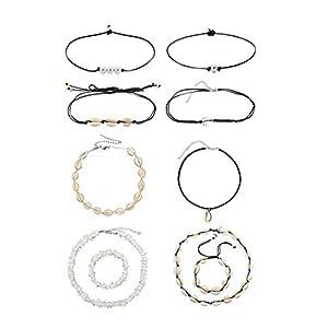 10 Stück Set Damen Halskette,Strand Muschel Halskette Gold Muschel Halskette Kette Necklaces Halsketten Anhänger Geschenk Jewelry Gliederkette für Frauen und Mädchen