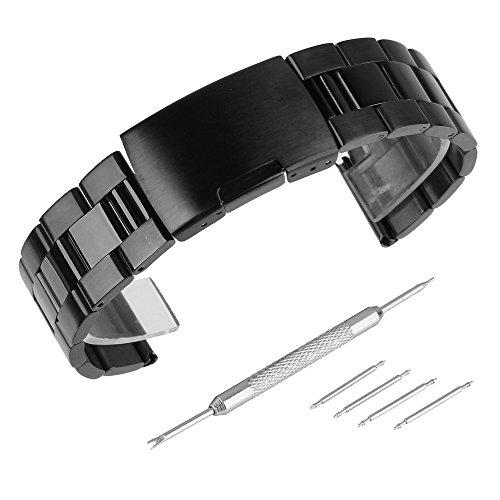 Beauty7 28mm Schwarz Edelstahl Uhrenarmband Uhrenarmbänder mit Faltschließe Metall Uhr Armband Zubehör 4 Federstege und Federstift