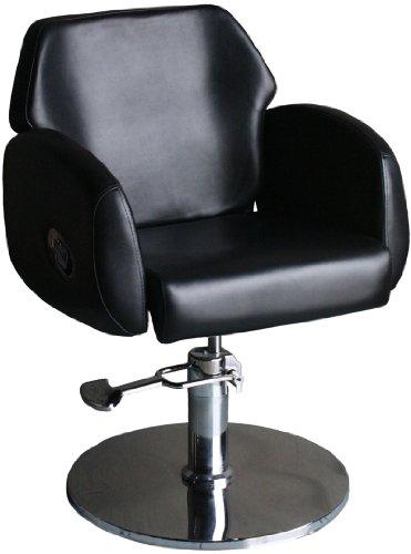 FIGARO hydraulisch höhenverstellbarer Friseurstuhl PORTICI mit kippbarer Rückenlehne Farbe schwarz