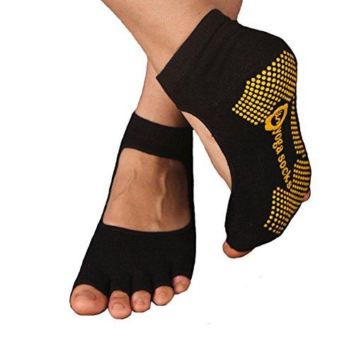 Antidérapants moitié orteil chaussettes de yoga coton Chaussettes de femmes noir