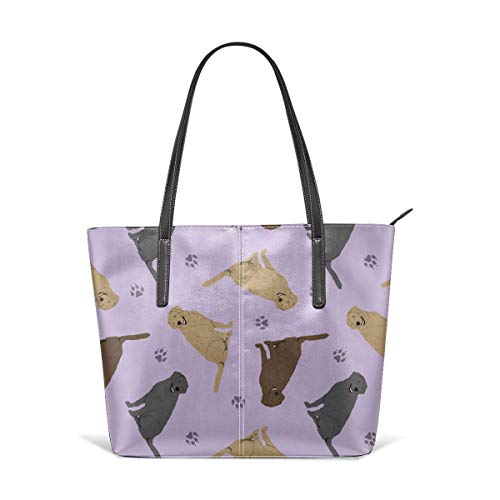 XGBags Cute Golden Retriever Pink Dog Men Women Leather Tote Bags Satchel Top Handle Bags Shoulder Leisure Handbags For Ladies Shopping Bag Office Briefcase Tote Umhängetaschen -