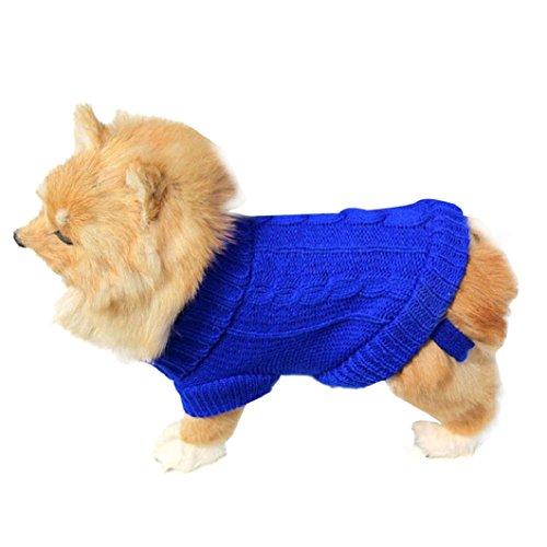 Malloom® Cane Compagnia Gatto Vestiti Invernali Maglione Caldo Maglieria per I Cani Cucciolo Abbigliamento Cappotto (Blu, 6#)