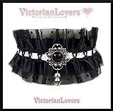 Collarino Elegant Gothic Dark Victorian Lolita Gotico Cabochon Ruche Raso Voile Vittoriano Collana Lady Dama Romantico Vampiro