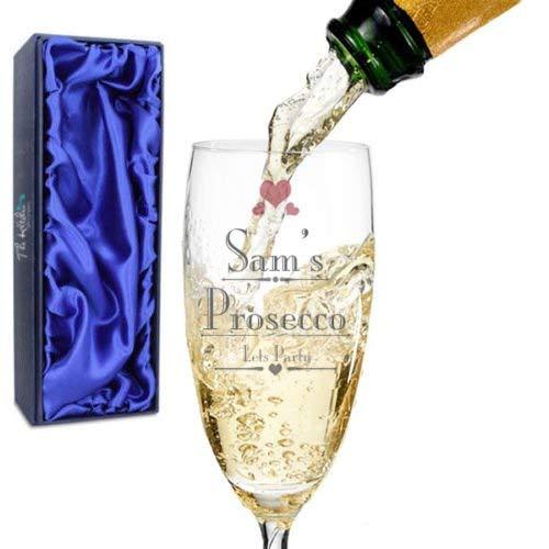 personnalisé Verre de Prosecco - Vin Anniversaire Enterrement ou Demoiselle d'honneur Mariage Cadeau de Cuisine - Société ®, Verre, Personalised Prosecco Glass + Silk Lined Gift Box