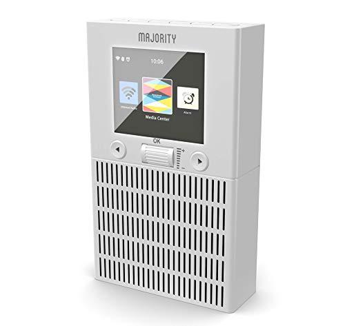 MAJORITY Wolfson Internetradio Steckdosen - Wi-Fi WLAN Verbindung Kompakt Lautsprecher - Küchenradio - Bluetooth - Dual Wecker - Schlummerfunktion - App-Fernbedienung (Weiß)