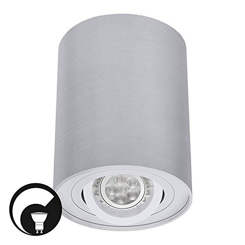 LED Deckenaufbaustrahler / Aufbauleuchte / Aufputz Deckenleuchte / schwenkbar / Aluminium / GU10-230V (RUND-122550) (DIMMBAR Warmweiß)