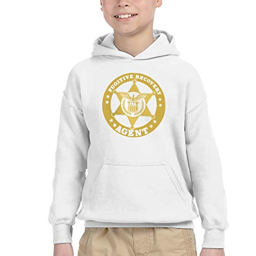 Youth Children's Pocket Hooded Sweatshirt Fugitive Recovery Agent 4 New Classic Minimalist Style White 2T - Agent Hooded Sweatshirt