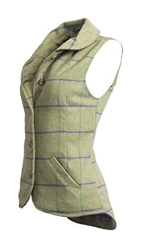 Walker and Hawkes Damen Trenchcoat Weste, Kariert * Einheitsgröße Gr. 40, Sage with Purple Stripes