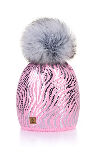 dad5a38a5fc Women Ladies Winter Beanie Hat Knitted with Small Crystals Large Pom Pom  Cap Ski Snowboard Hats MFAZ Morefaz Ltd (Pink) - Buy Online in UAE.