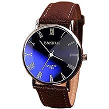 Reloj analógico Oumosi de cuarzo de acero inoxidable para hombre con correa de piel