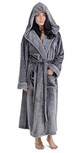 CityComfort Bademantel Frau Dusche Super Weich Robe mit Kapuze (M, Holzkohle)