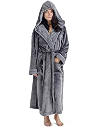 CityComfort Ladies Dressing Gown Fluffy Super Soft Hooded Bathrobe for  Women Plush Fleece Perfect for Spa 61ffe310b