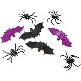 8 Spinnen + 6 Fledermaus Deko Halloween Party Gruselparty