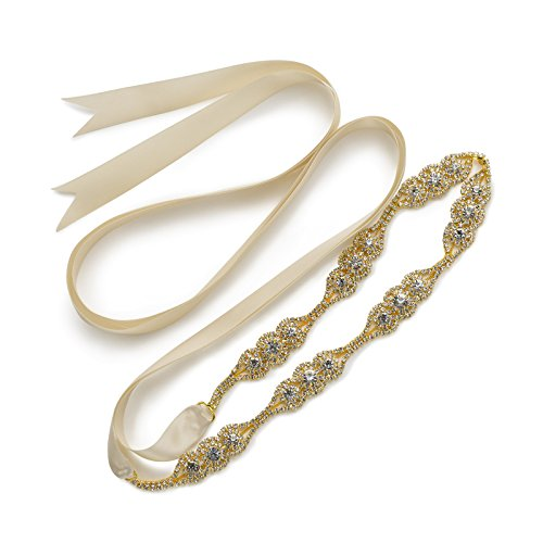 SWEETV Boda Vestido Faja Cintura Cinturón Cinta de Raso de Brillantes Diamantes de Imitación de Novia para Mujer, Dorado+Champagne