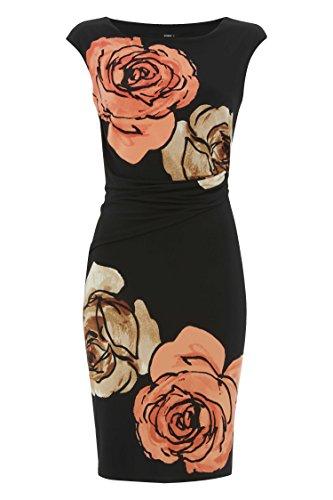 Roman Originals Damen Große Blume Muster Jersey Kleid Schwarz Schwarz