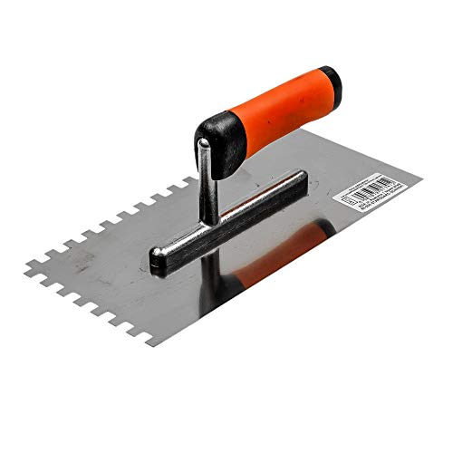 STR Glättkelle 270 x 130 Edelstahl gezahnt 10x10 mit Softgriff Glättekelle Kelle Putzerkelle rostfrei