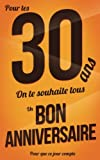 Telecharger Livres Bon anniversaire 30 ans Marron Carte livre d or Pour que ce jour compte 12 7x20cm (PDF,EPUB,MOBI) gratuits en Francaise