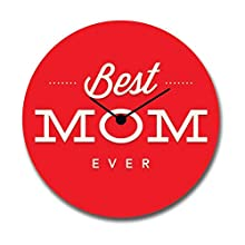 Mothers Day Gifts, Giftsmate Best Mom Ever Canvas Wall Clock for Mom, Living room (12 X 12)