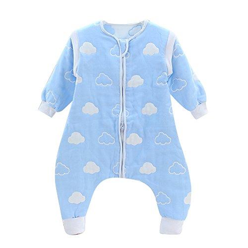 DaiShuGuaiGuai Baby Ganzjahres Schlafsack mit Füßen (Blau) (Wolke) (XL 95-105CM)